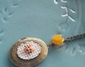 Yellow Kitty Cat Cross stitch Locket necklace- xstitch fiber art wearable art  crossstitch