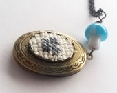 Mouse Cross stitch Locket necklace- xstitch fiber art wearable art  crossstitch