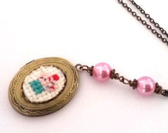 Cupcake Cross stitch Locket necklace- xstitch fiber art wearable art  crossstitch Food Kitsch Yummy Sweets Dessert