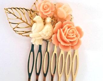 Cream and Peach Love Birds Small Cluster Hair Comb - Fascinator Kitschy Cool Offbeat Wedding Bride Bird Animal