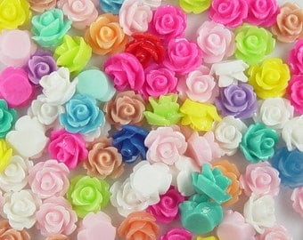 CLEARANCE Cabochon Flower 80 Resin Round Rose Flower Assorted Colors 10mm (1017cab10m2)os