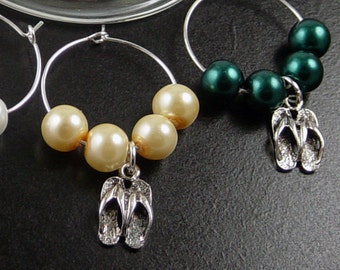 Wine Charms 6 Silver Flip Flop Sandals Beads Stemware Glass Pearls Gifts Wedding Favors (1015win25s1)