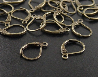Earring Hoops 20 Antique Bronze Lever Back Earwire 15mm long 10mm wide NF (1058ear15z1)