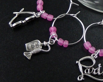 Wine Charms 10 Silver GIRLS NIGHT OUT Pink Beads Stemware Glass Gifts Wedding Favors (1022win20s1)