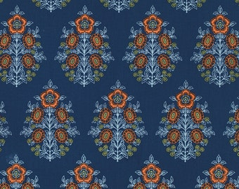 Joel Dewberry Fabric by the Yard - Botanique - Provincial in Deep Water - Quilter's Cotton