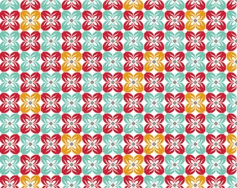 Clearance Fabric - Joel Dewberry Fabric by the Yard - Notting Hill - Square Petal in Poppy - Quilter's Cotton