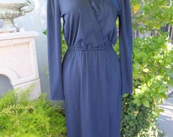 1970s Dress, NAVY BLUE, Terri Juniors California, Day Dress, Career or School,  Knit Wrap Dress