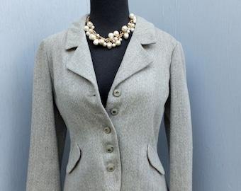 Vintage 1970s Pierre d'Alby Paris Gray, Grey Wool Jacket / Academia, Preppy, School Blazer or Jacket