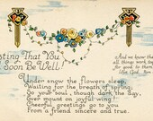 Vintage Get Well Postcard, Art Nouveau style, flowers, Bible verse, Wishing Speedy Recovery