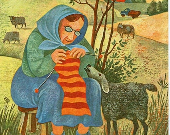 Vintage J. Tammsaar, artist,  Tadi Tall,  Lady knitting while sheep watches, 1980  Vintage Estonian postcard