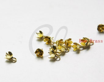 30pcs Raw Brass Bead Cap with Peg - Cone 6mm (3035C-W-393)
