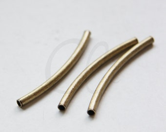 4pcs Antique Brass Curved Tube 3x45mm with ID 2.3mm  (1685C-M-69)