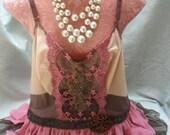 50% OFF - TUNIC Top Tank Cami Boho Romantic Fairylike Beadwork - Tunic Top - Coffee and Rose