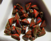 Czech Tango Bead - 6x6x8mm - Coral Red Picasso - 10 Grams - approx 65 pieces