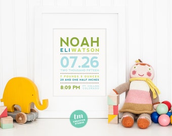 Modern Typography Custom Birth Announcement // Nursery Print // Birth Stat Poster // Baby Boy
