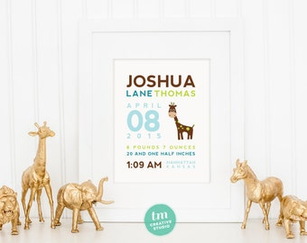 Giraffe Wall Art - Custom Birth Announcement Print