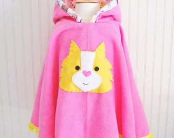 Cat Poncho. Girls Poncho. Kitty Cape. Toddler Poncho. Girls Fleece Cape. Girls Outerwear. Poncho with Pompoms. Gift for cat lover. Cat Cape.