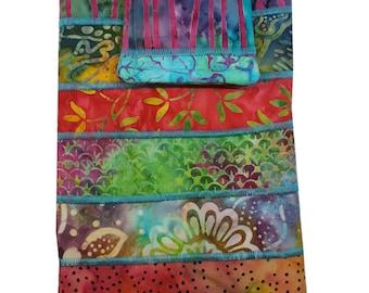 Nook or Kindle Fire Ipad Mini Sleeve in Multicolored Batik Fabrics Back to School