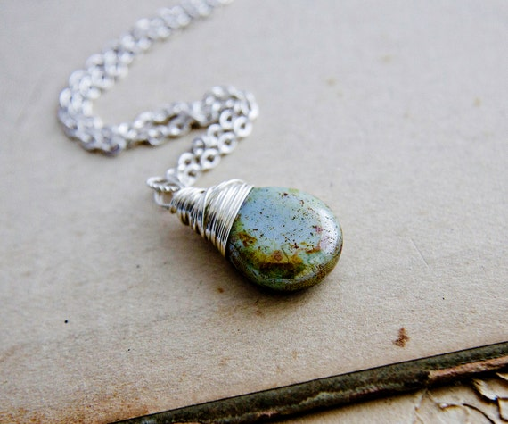 Glass Necklace, Glass Pendant, Mint Green, Patina Green, Earth Tones, Glass Necklace, Sage Green, Verdigris, Sterling Silver