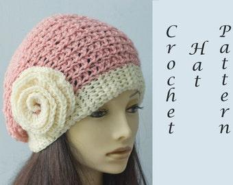Flower Slouchy Hat Crochet Pattern, Crochet Hat Pattern, Hat PDF Pattern, Cloche Pattern, Crochet Rose Pattern