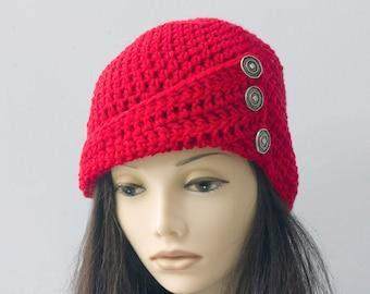 Red Winter Hat, 1920's Flapper Hat, Winter Hat, Button Brim Hat, Hand Crocheted Cloche