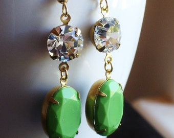 Green statement earrings, glass crystal earrings, vintage style earrings, estate style earrings, gift ideas for mom, unique Christmas gift