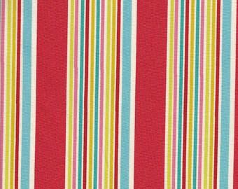 Camelot Cottons Vintage Vogue Stripe in Red - Half Yard