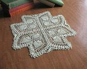 Handmade Crochet Doily - Cross Shape Mint Green Pineapple Doily - 13 3/4 Inches Across