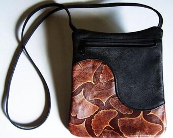 Black Leather Purse with Ginkgo Leaf Accent - Cross Body Style Handbag - Festival Bag