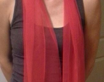 Vintage Red Silk Neck Scarf