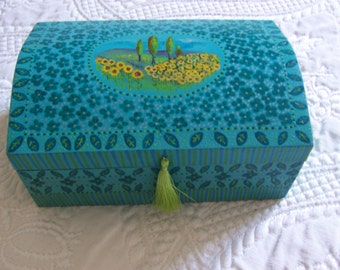 Art on a Box Sunflowers  Jewelry  Keepsake  Memory Box  Jewellery box A unique hand painted design of a French sunflower field