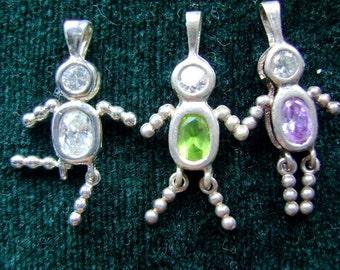 Charm, Boy, Girl, Sterling, Silver,Pendant, Birthstone, CZ, Mom, Necklace, Aniversary, GRANDMOTHERS