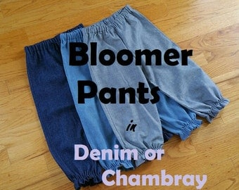 Girls Basic Denim or Chambray Bloomer Pants Pantaloons for baby toddler girl - 3 months to size 8 - choice of BLUE or INDIGO or CHAMBRAY
