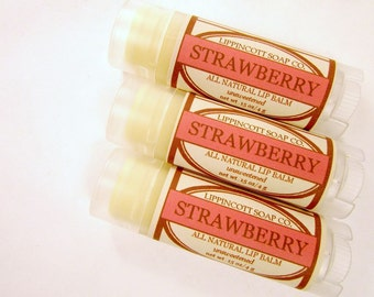 Strawberry Lip Balm - All Natural Lip Balm - Unsweetened Lip Balm - Phthalate Free - Fruit Lip Balm - Beeswax Lip Balm - Gift for Her
