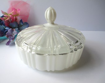 Vintage Milk Glass Covered Candy Dish