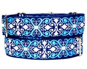 "1.5"" wide CAMELOT navy 14-18"" martingale dog collar,Safety Collar, Greyhound Collar, Sighthound Collar, Adjustable, Training Collar"