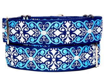 """1.5"""" wide CAMELOT navy 14-18"""" martingale dog collar"""