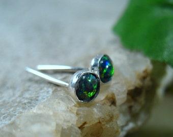 Stud Earrings Silver 20 Black Opal Studs - Stud Earring, Post Earrings, Single Stud Earring, 16 Gauge Studs, Black Opal Studs, Opal Studs
