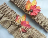 Burlap Wedding Garter Autumn Fall Leaves Leaf Bridal Garter Set