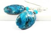 Feldspar Earring/Mystic Blue Feldspar Earring/Feldspath Earring/Turquoise Earring/Feldspath Jewelry/Silver Earring/Natural Stone Jewelry
