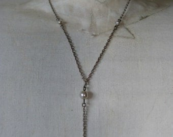 Pearl Sterling Necklace Vintage 925 Dangle