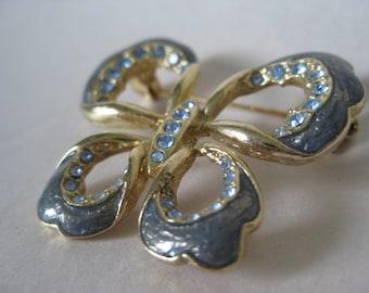 Butterfly Gray Blue Brooch Rhinestone Gold Vintage Pin