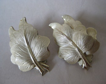 Leaf Gold Earrings Clip Vintage