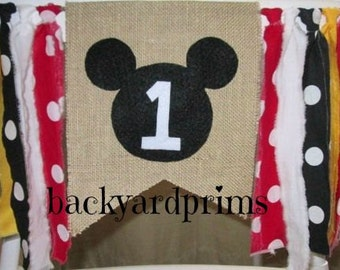 Mickey Mouse High Chair Banner ~Birthday Banner ~Cake Smash Banner ~1st Birthday banner ~Handmade by backyardprims
