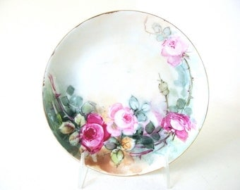 Vintage Hand Painted Plate - Gold Rimmed HUTSCHENREUTHER SELB of Bavaria Roses