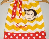 Curious George Dress  Monogrammed yellow Chevron applique pillowcase dress 3 6,12 18month 2t, 3t,4t 5t,6,7,8,10