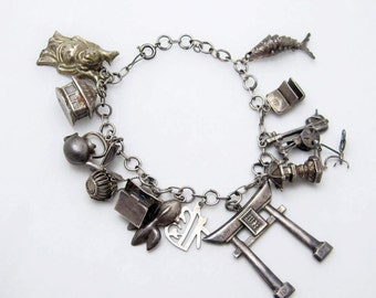 Vintage Sterling Charm Bracelet Asian Themed Jewelry B6733