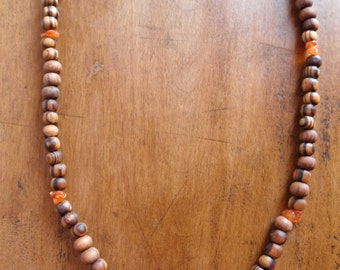 Olive Wood and Carnelian Healing Necklace