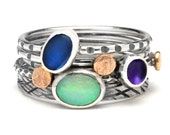 Opal Mist stack ring collection; opal, iolite, amethyst, sterling silver & gold