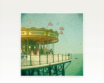 SALE 25% OFF Carousel Photography, Seaside Decor, Nursery Art, Green and Gold, Kids Decor - Carousel by the Sea